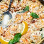 Creamy Garlic Tuscan Shrimp Skillet